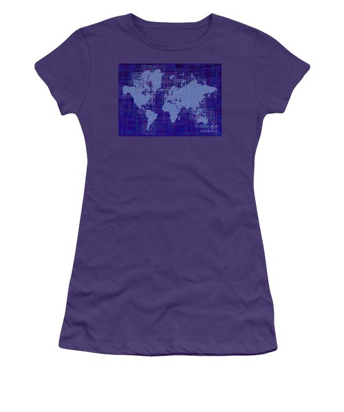 World Map Rettangoli In Blue And White Women's T-Shirt (Junior Cut) by Eleven Corners