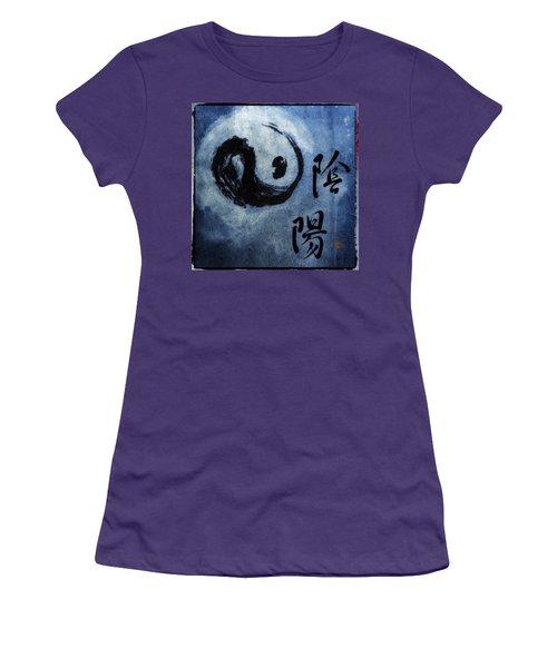 Women's T-Shirt (Junior Cut) featuring the photograph Yin  Yang Brush Calligraphy by Peter v Quenter