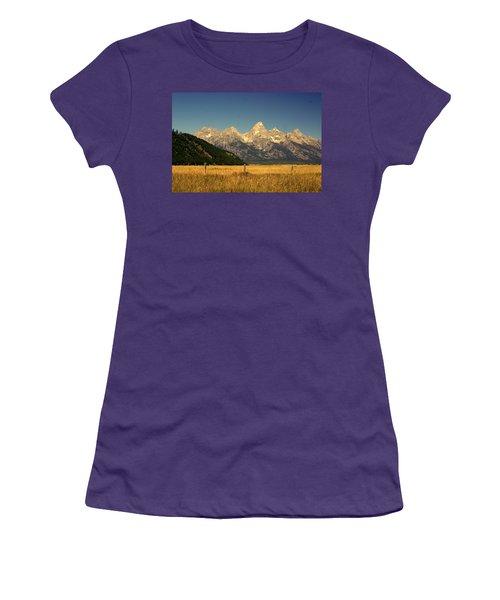 Women's T-Shirt (Junior Cut) featuring the photograph Tetons 3 by Marty Koch