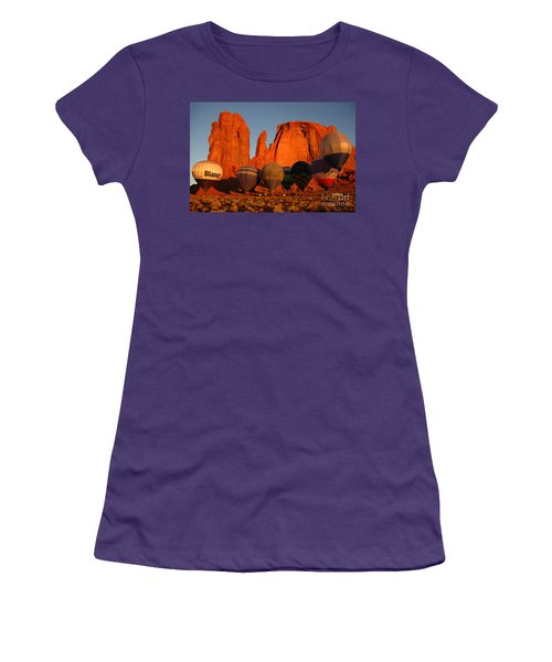 Women's T-Shirt (Junior Cut) featuring the photograph Dawn Flight In Monument Valley by Vivian Christopher