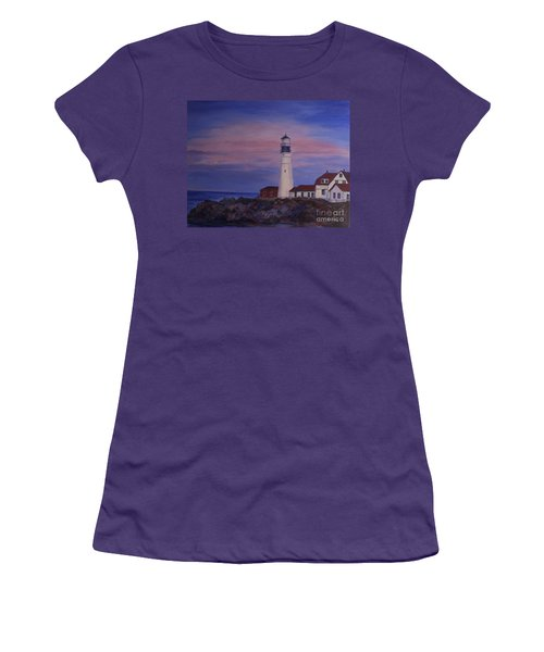 Women's T-Shirt (Junior Cut) featuring the painting Portland Head Lighthouse At Dawn by Julie Brugh Riffey