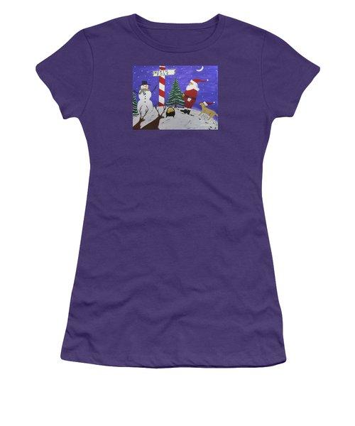 Women's T-Shirt (Junior Cut) featuring the painting Santa Finds Pot Of Gold by Jeffrey Koss