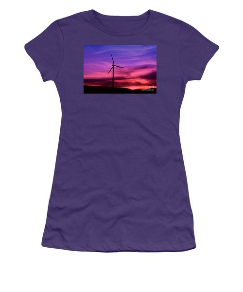Sunset Windmill Women's T-Shirt (Junior Cut) by Alyce Taylor