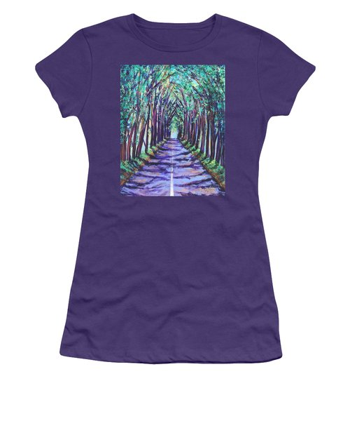 Kauai Tree Tunnel Women's T-Shirt (Junior Cut) by Marionette Taboniar