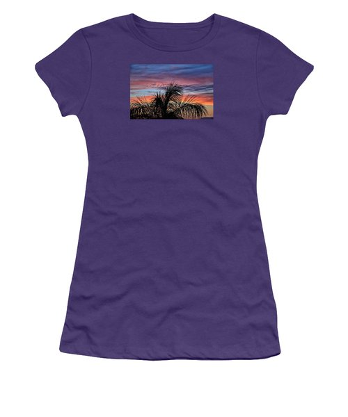 Women's T-Shirt (Junior Cut) featuring the photograph Palm Tree Sunrise by Nikki McInnes