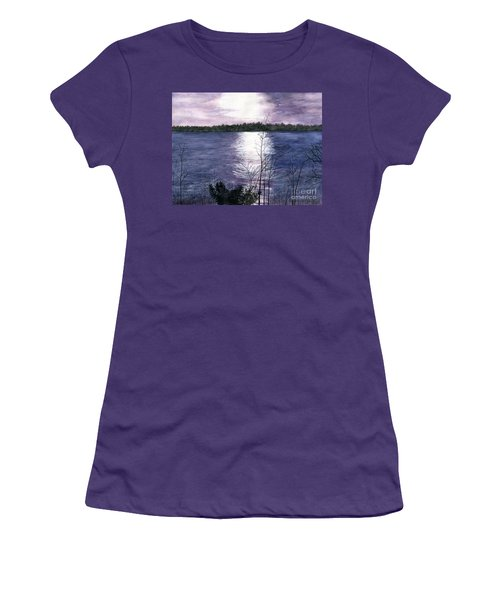 Women's T-Shirt (Junior Cut) featuring the painting Sunset At Niagara River New York by Melly Terpening
