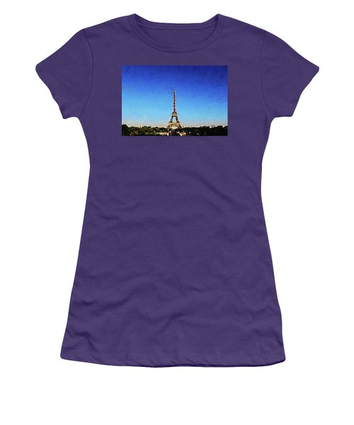 Women's T-Shirt (Athletic Fit) featuring the painting The Eiffel Tower by PixBreak Art