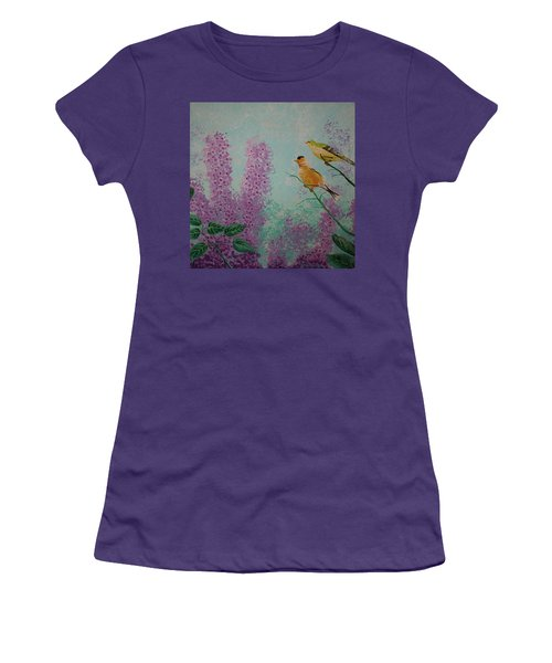 Two Chickadees Women's T-Shirt (Athletic Fit)