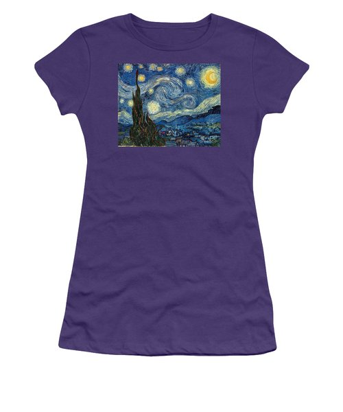 Van Gogh Starry Night Women's T-Shirt (Athletic Fit)