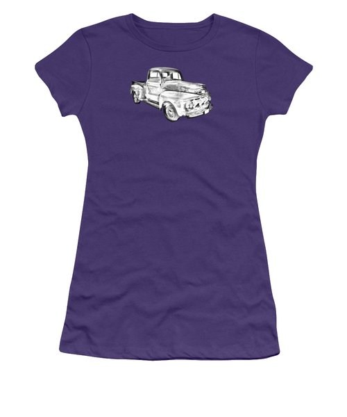 1951 Ford F-1 Pickup Truck Illustration  Women's T-Shirt (Junior Cut) by Keith Webber Jr