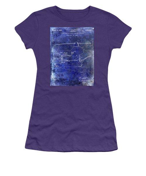 1953 Helicopter Patent Blue Women's T-Shirt (Junior Cut) by Jon Neidert