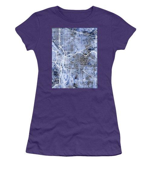 Women's T-Shirt (Junior Cut) featuring the digital art Portland Oregon City Map by Michael Tompsett