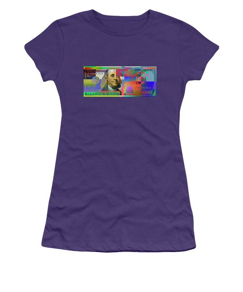 2009 Series Pop Art Colorized U. S. One Hundred Dollar Bill No. 1 Women's T-Shirt (Junior Cut) by Serge Averbukh