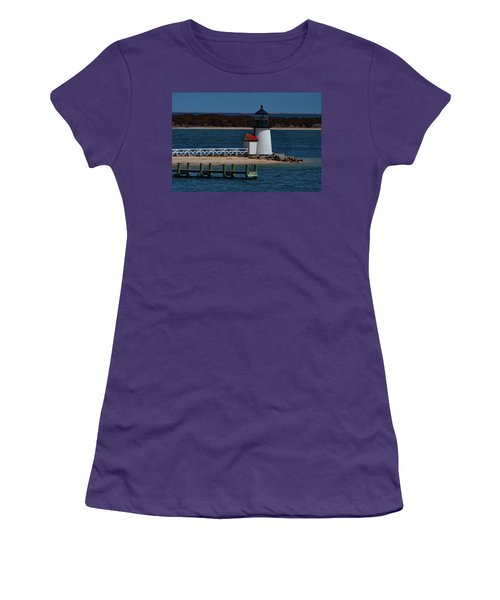 Women's T-Shirt (Athletic Fit) featuring the photograph Brant Point Lighthouse Nantucket by Jeff Folger