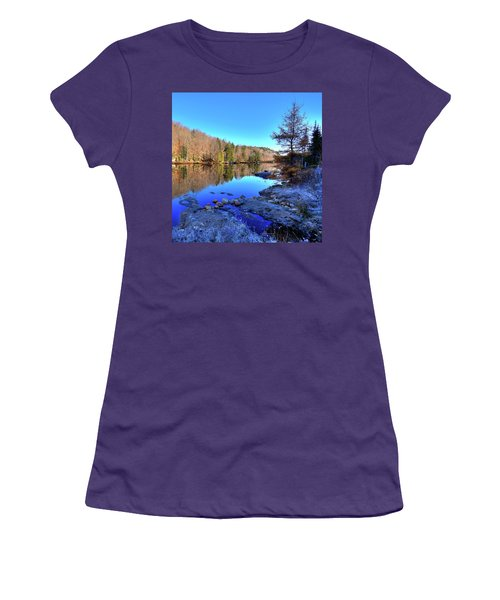 Women's T-Shirt (Junior Cut) featuring the photograph A November Morning On The Pond by David Patterson
