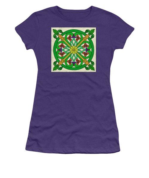 Acorn On Cream/purple Women's T-Shirt (Junior Cut) by Curtis Koontz