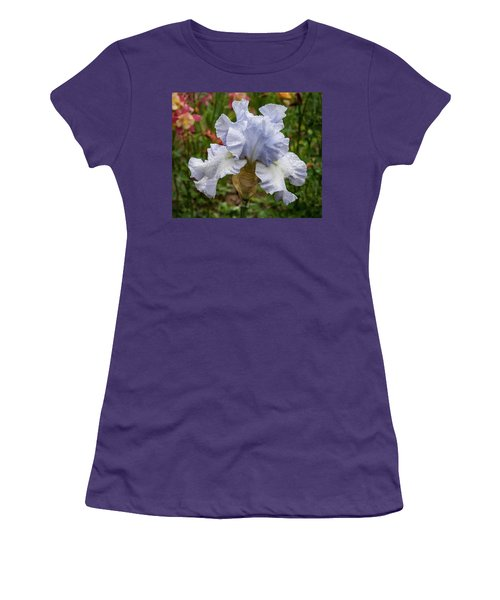 Women's T-Shirt (Athletic Fit) featuring the photograph Almost Blue Bearded Iris by Jean Noren