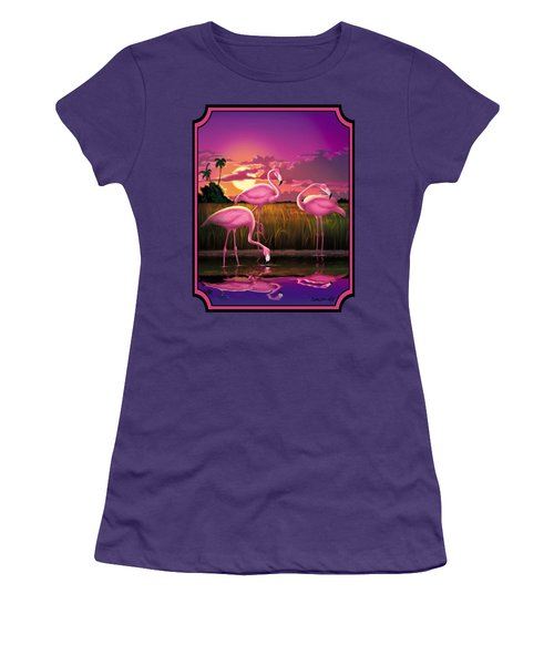 Flamingoes Flamingos Tropical Sunset Landscape Florida Everglades Large Hot Pink Purple Print Women's T-Shirt (Junior Cut) by Walt Curlee