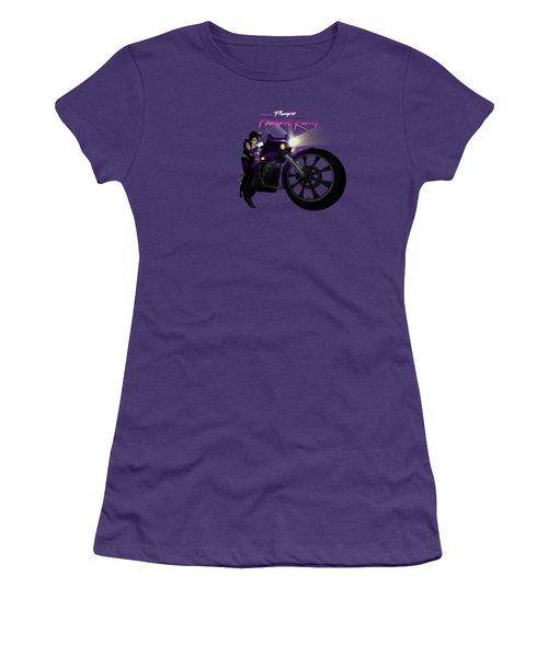 Women's T-Shirt (Junior Cut) featuring the digital art I Grew Up With Purplerain by Nelson dedos Garcia