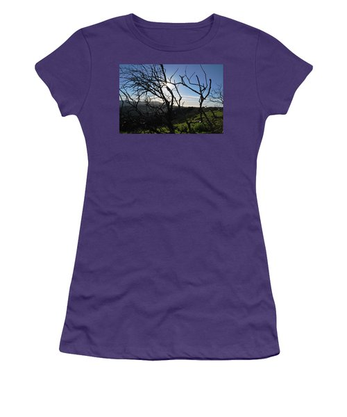 Women's T-Shirt (Athletic Fit) featuring the photograph Backlit Trees Overlooking Hillside by Matt Harang