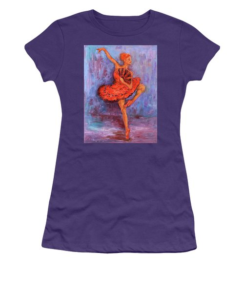 Women's T-Shirt (Athletic Fit) featuring the painting Ballerina Dancing With A Fan by Xueling Zou