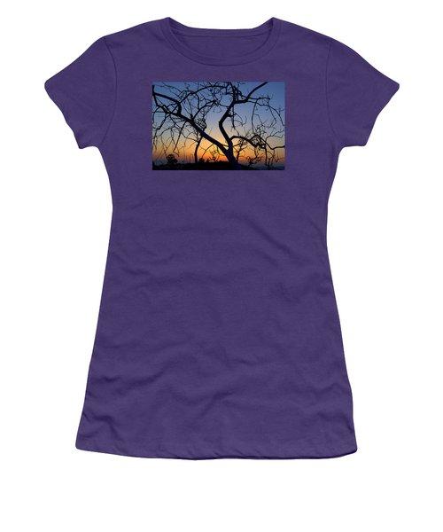 Women's T-Shirt (Junior Cut) featuring the photograph Barren Tree At Sunset by Lori Seaman