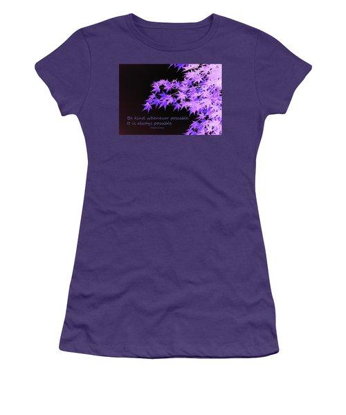 Be Kind Women's T-Shirt (Junior Cut) by Susan Lafleur