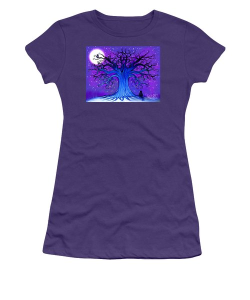 Women's T-Shirt (Junior Cut) featuring the drawing Black Cat And Night Owl by Nick Gustafson
