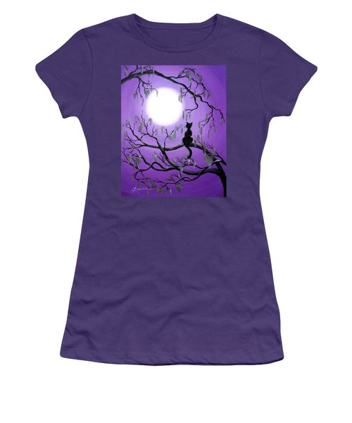 Black Cat In Mossy Tree Women's T-Shirt (Junior Cut) by Laura Iverson