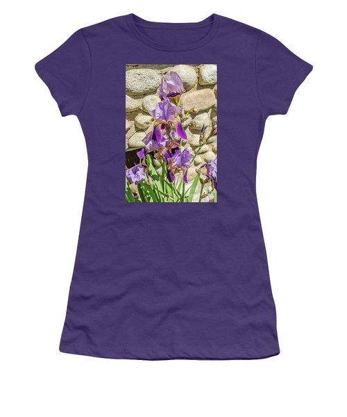 Blooming Purple Iris Women's T-Shirt (Junior Cut) by Sue Smith