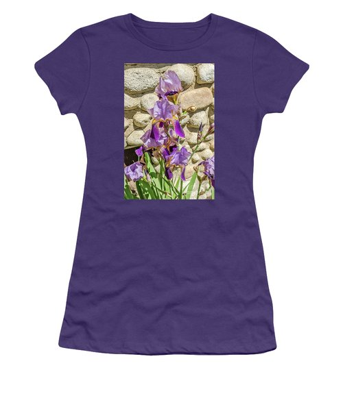 Women's T-Shirt (Athletic Fit) featuring the photograph Blooming Purple Iris by Sue Smith