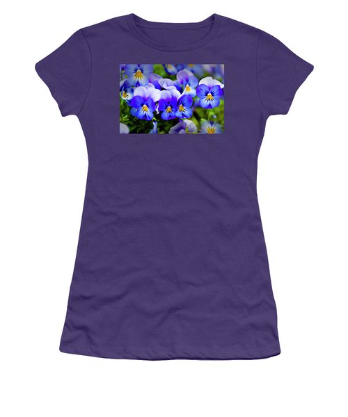 Women's T-Shirt (Junior Cut) featuring the photograph Blue Pansies by Tamyra Ayles