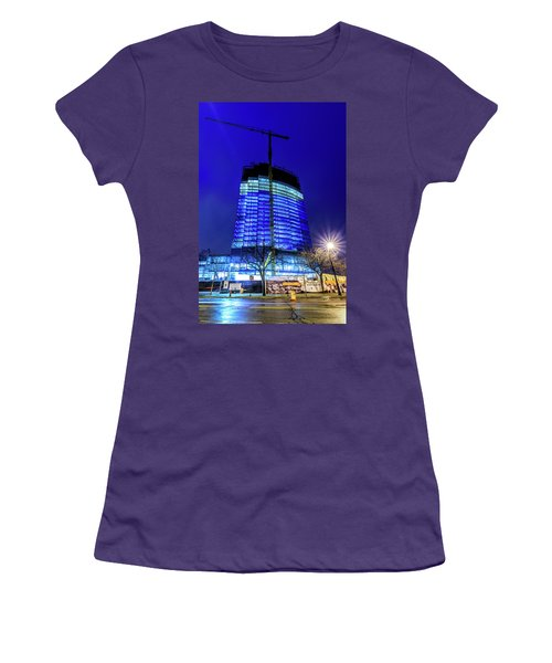 Women's T-Shirt (Athletic Fit) featuring the photograph Blue Tower Rising by Randy Scherkenbach