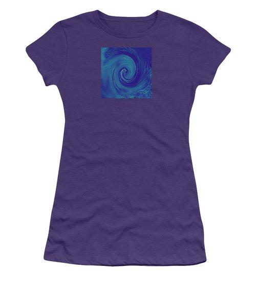Women's T-Shirt (Junior Cut) featuring the digital art Blue Wave by Kerri Ligatich