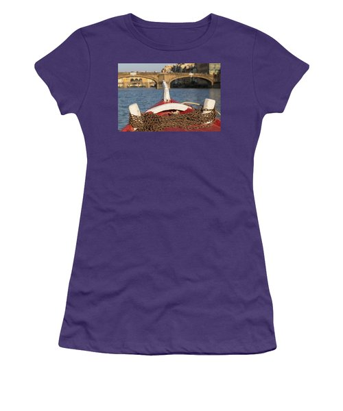 Boat On The Arno River,  Women's T-Shirt (Athletic Fit)