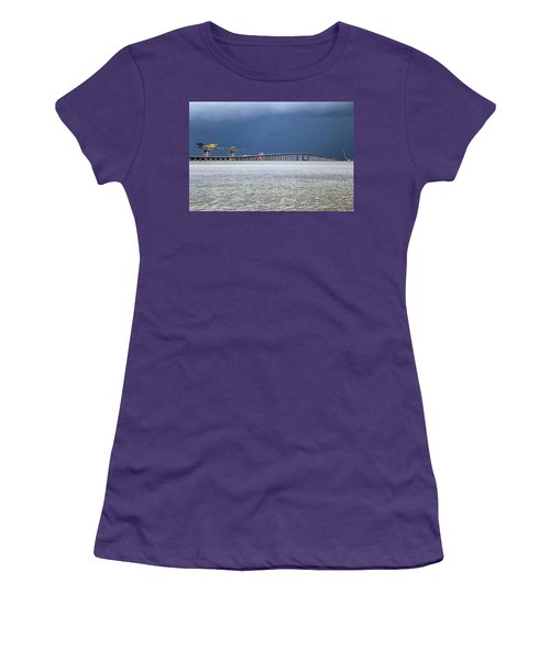 Women's T-Shirt (Athletic Fit) featuring the photograph Bonner Bridge Replacement by Alan Raasch