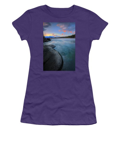 Women's T-Shirt (Junior Cut) featuring the photograph Boulders And Ice On The Athabasca River by Dan Jurak
