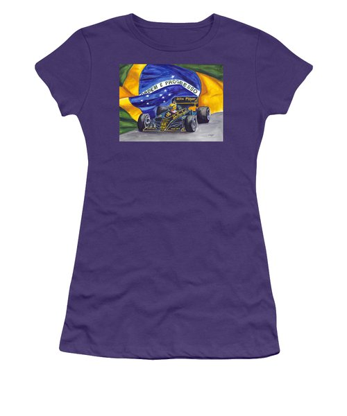Brazil's Ayrton Senna Women's T-Shirt (Junior Cut) by Clara Sue Beym
