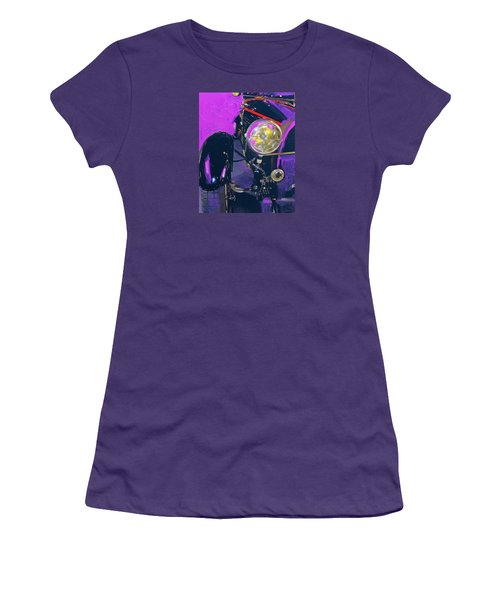Bugatti Abstract Purple Women's T-Shirt (Junior Cut) by Walter Fahmy