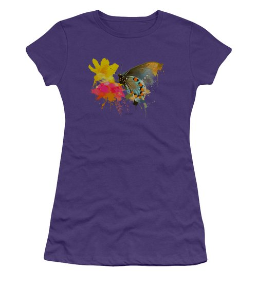 Butterfly On Lantana - Splatter Paint Tee Shirt Design Women's T-Shirt (Athletic Fit)