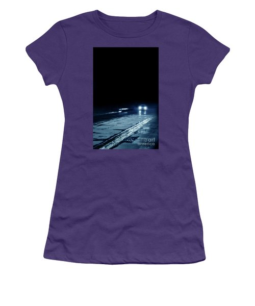 Car On A Rainy Highway At Night Women's T-Shirt (Junior Cut) by Jill Battaglia
