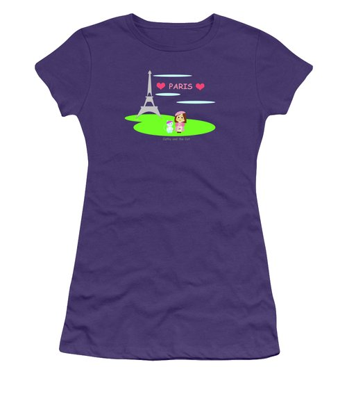 Cathy And The Cat In Paris Women's T-Shirt (Athletic Fit)