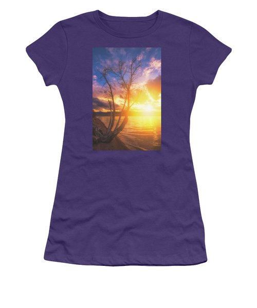 Women's T-Shirt (Athletic Fit) featuring the photograph Chatfield Lake Sunset by Darren White