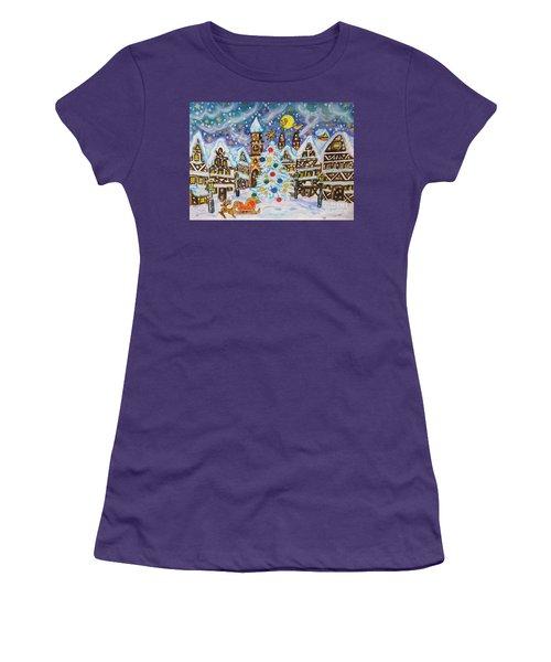 Christmas In Europe Women's T-Shirt (Junior Cut) by Irina Afonskaya