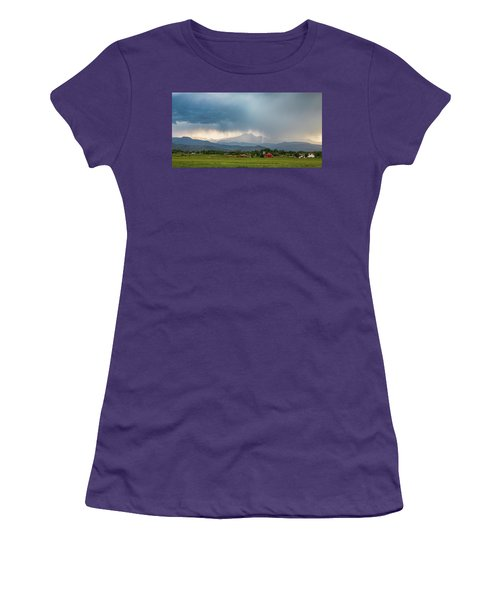 Women's T-Shirt (Junior Cut) featuring the photograph Colorado Rocky Mountain Red Barn Country Storm by James BO Insogna
