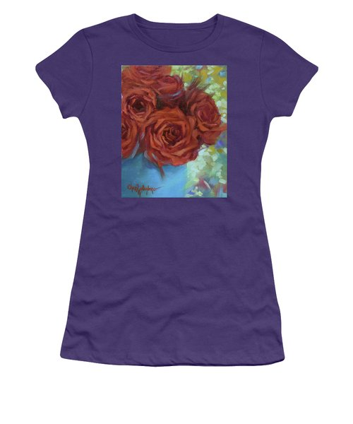 Contemporary Red Roses With Confetti Background Women's T-Shirt (Athletic Fit)