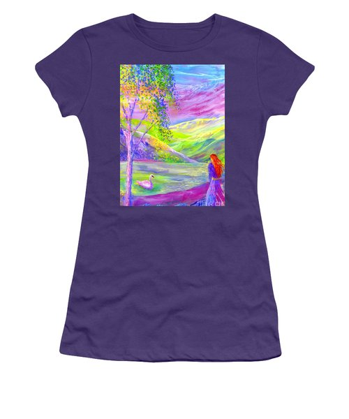 Women's T-Shirt (Junior Cut) featuring the painting Crystal Pond, Silver Birch Tree And Swan by Jane Small