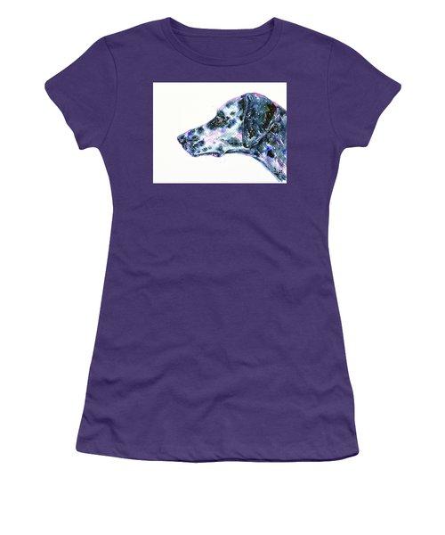 Women's T-Shirt (Athletic Fit) featuring the painting Dalmatian by Zaira Dzhaubaeva
