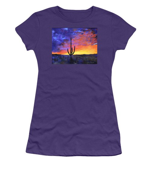 Women's T-Shirt (Junior Cut) featuring the painting Desert Sunset 4 by M Diane Bonaparte