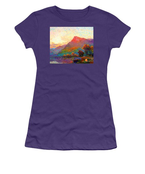 Women's T-Shirt (Junior Cut) featuring the painting  Buddha Meditation, Divine Light by Jane Small